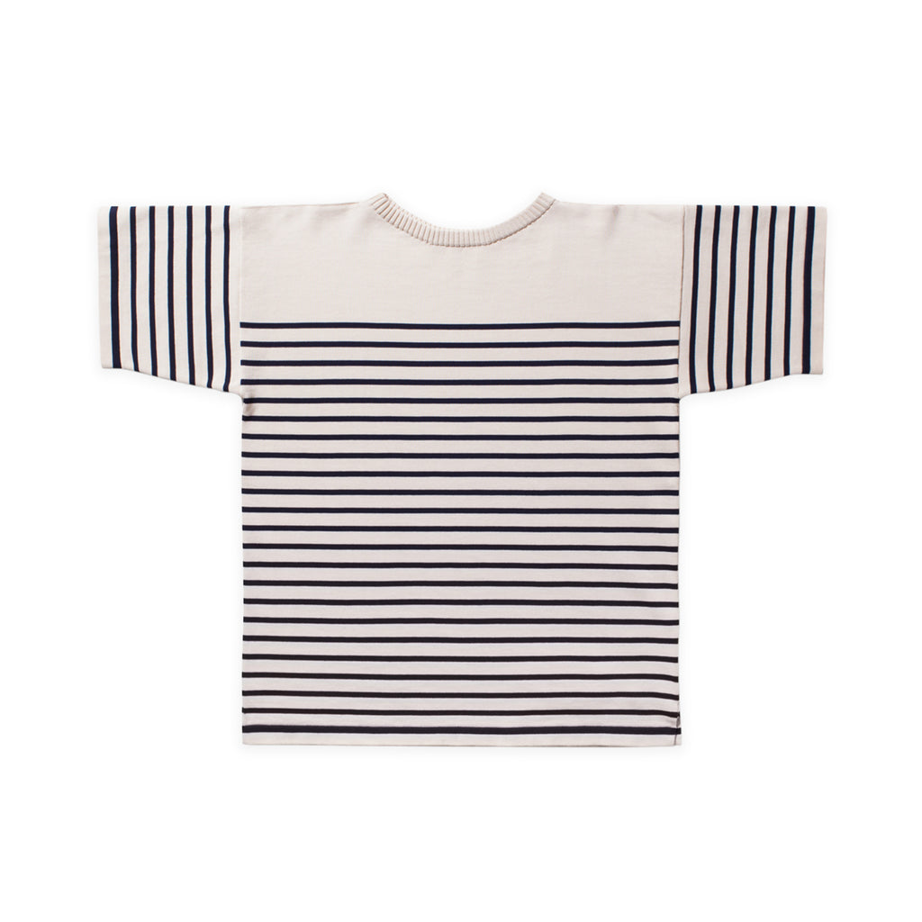 ANDERSEN-ANDERSEN T Shirt - Raw Cotton ground Royal Blue stripe
