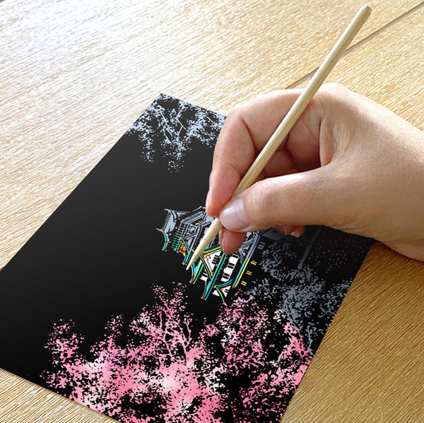 Set of 4 Cherry Blossom Scratch Postcards