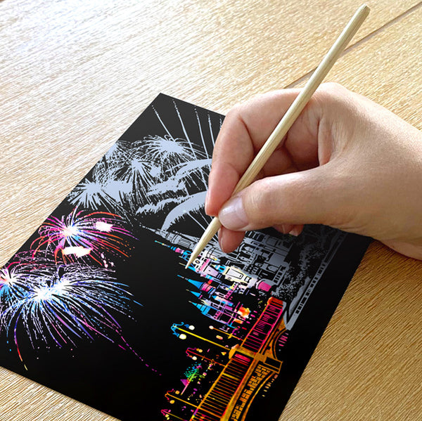 Set of 4 New Year Fireworks Scratch Postcards