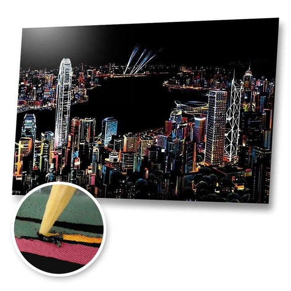 Hongkong Skyline Scratch Painting Kit