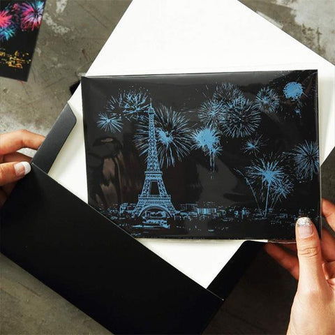 Set of 4 Iconic Cities Postcards Scratch Painting Kit