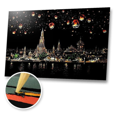 Temples, Thailand Scratch Painting Kit