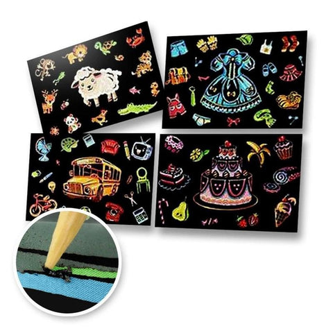 Set of 4 Assorted Postcards Scratch Painting Kit