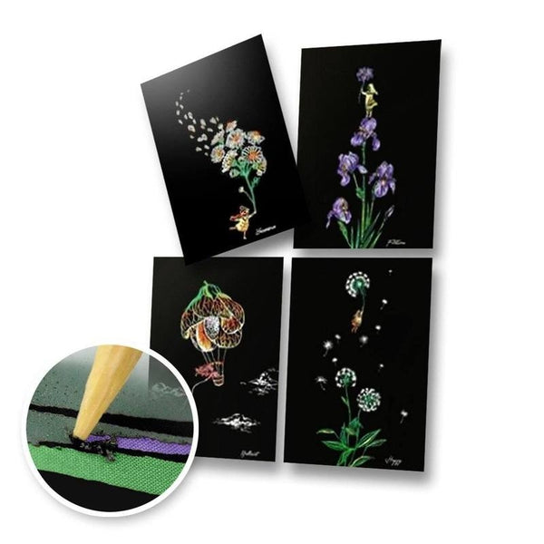 Set of 4 Flower Postcards Scratch Painting Kit