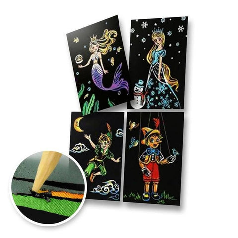 Set of 4 Fairytale Postcards Scratch Painting Kit