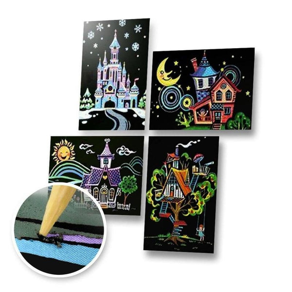 Set of 4 Houses Postcards Scratch Painting Kit