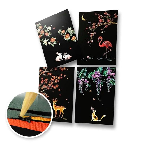 Set of 4 Animals Scratch Postcards