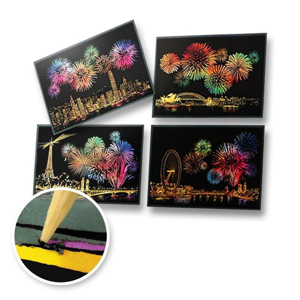 Set of 4 Cities Fireworks Postcards Scratch Painting Kit