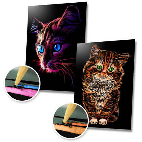 Blue Eyed Cat and Fluffy Kitten Scratch Painting Bundle