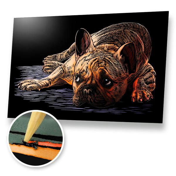 French Bulldog Scratch Painting Kit