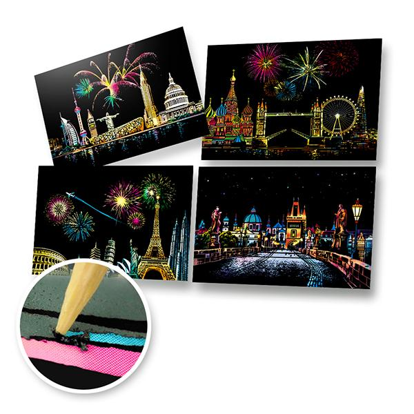 Set of 4 Landmarks of the World Scratch Postcards