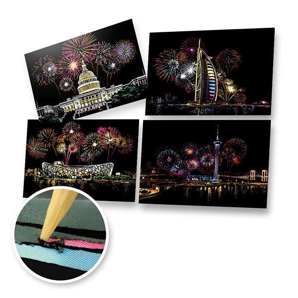 New Year Fireworks Scratch Painting Bundle (A4 Size)
