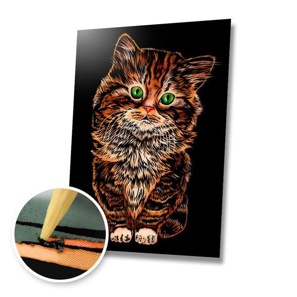 Fluffy Kitten Scratch Painting Kit