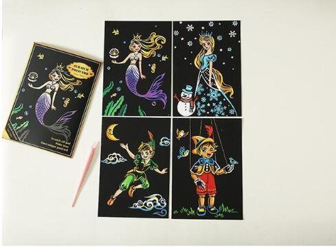Set of 4 Fairytale Scratch Postcards