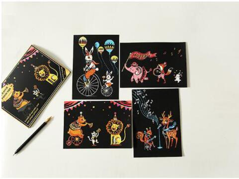 Set of 4 Circus Scratch Postcards