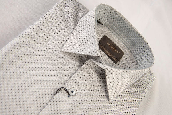 Giverno White Green Dotted Shirt