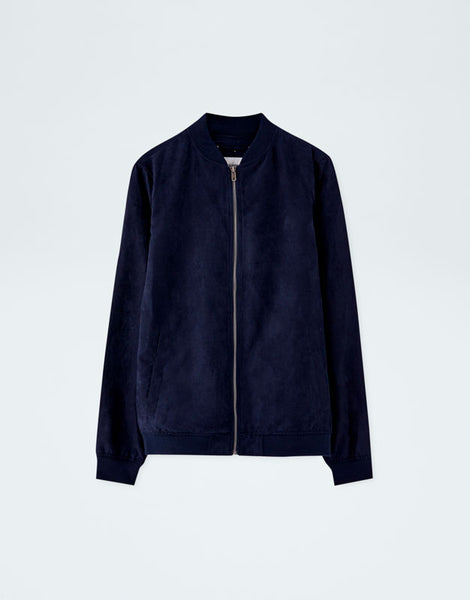 Pull & Bear Navy Blue Faux Suede Bomber Jacket