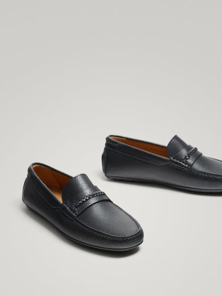 Massimo Dutti Blue Nappa Leather Loafers