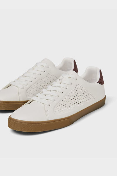 ZARA White Micro Perforated Retro Sneaker