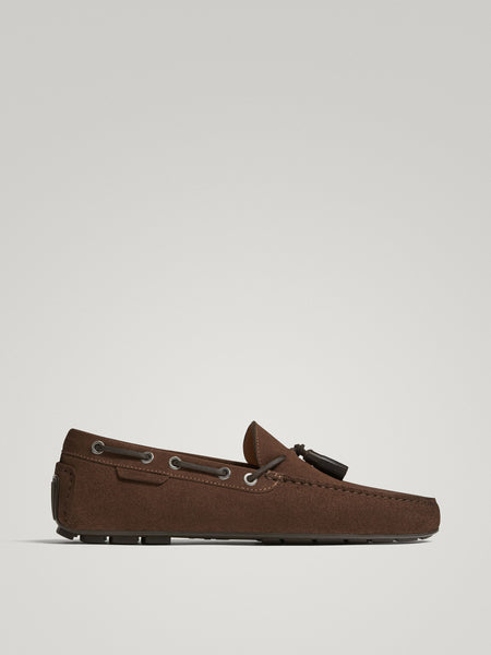 Massimo Dutti Brown split suede leather kiowa loafers
