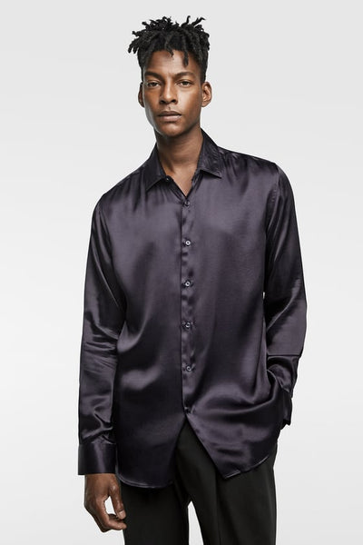 ZARA LONG SLEEVE SATIN SHIRT