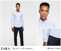 Zara Man White Light blue stripe Shirt