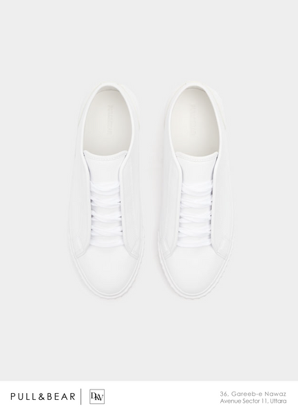 Pull And Bear-Plain white Sneakers