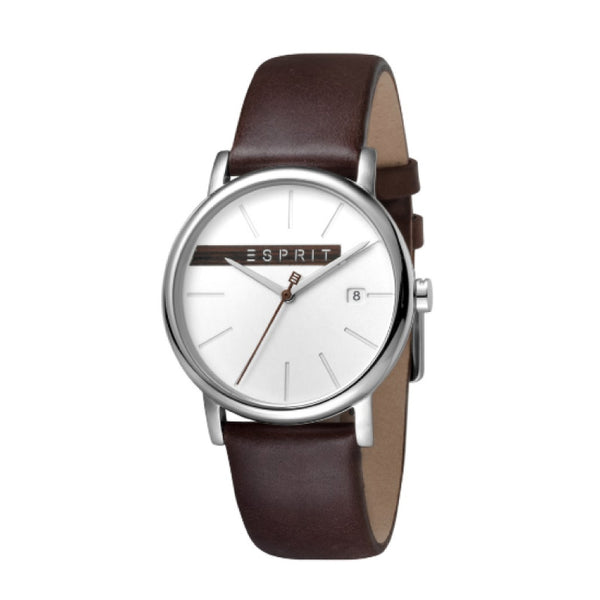 Esprit Brown Leather Strap Silver Dial