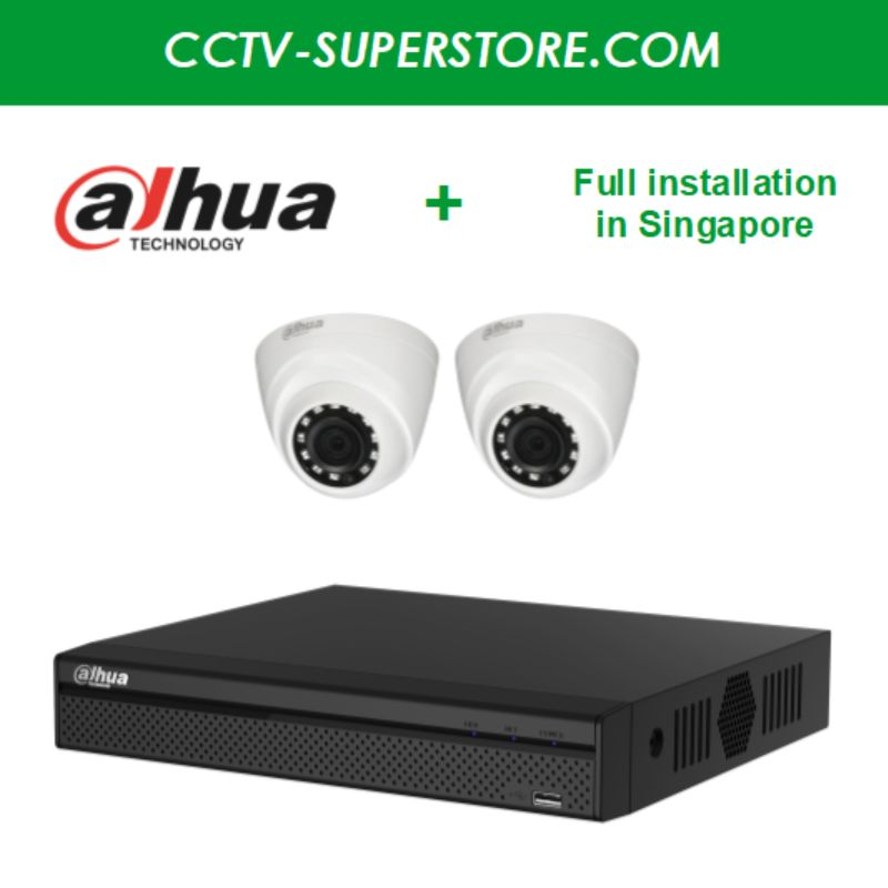 Dahua 2 x 1MP HD CCTV camera package with Installation in Singapore