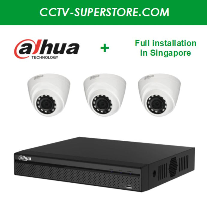 Dahua 3 x 1MP HD CCTV camera package with Installation in Singapore