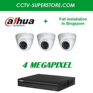Dahua 3 x 4MP HD CCTV camera package with Installation in Singapore
