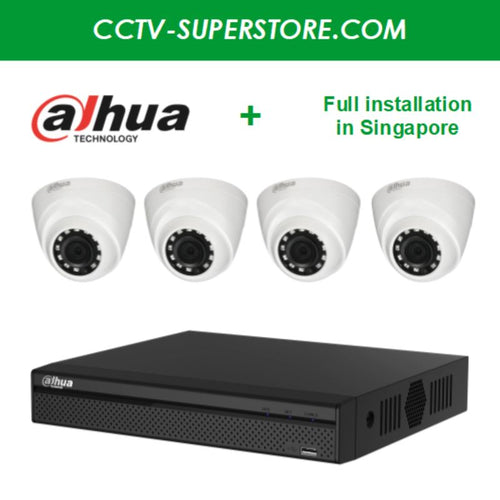 Dahua 4 x 1MP HD CCTV camera package with Installation in Singapore