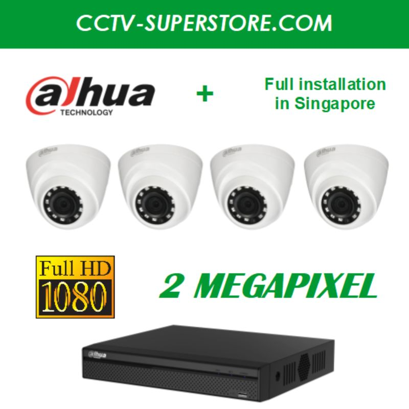 Dahua 4 x 2MP HD CCTV camera package with Installation in Singapore