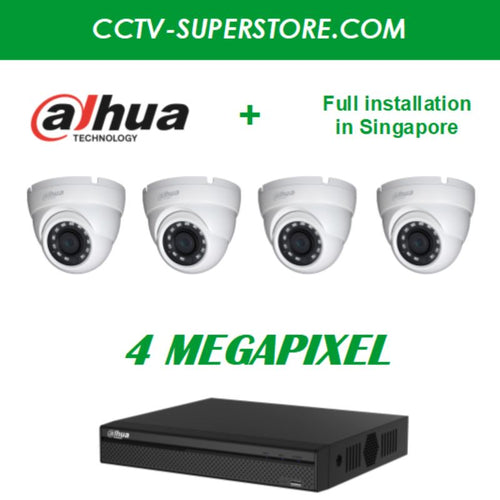 Dahua 4 x 4MP HD CCTV camera package with Installation in Singapore