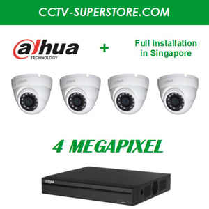 Dahua 4 x 4MP HD CCTV Camera Package with Installation in Singapore, UHD  display output, Setup for Remote Viewing