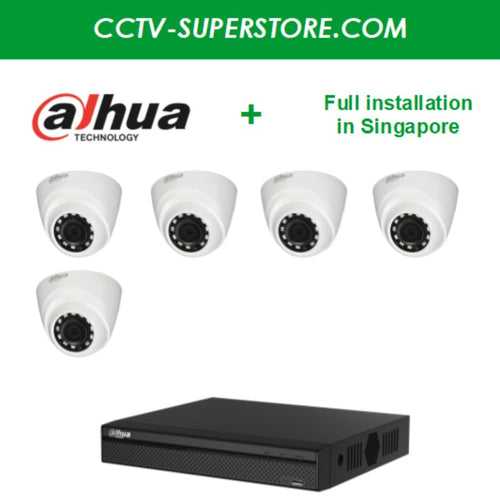 Dahua 5 x 1MP HD CCTV camera package with Installation in Singapore