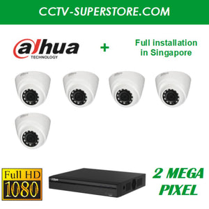 Dahua 5 x 2MP HD CCTV camera package with Installation in Singapore