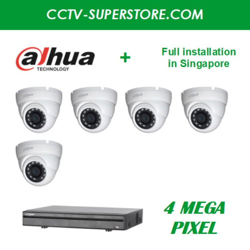 Dahua 5 x 4MP HD CCTV camera package with Installation in Singapore