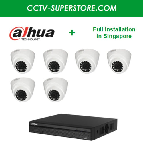 Dahua 6 x 1MP HD CCTV camera package with Installation in Singapore