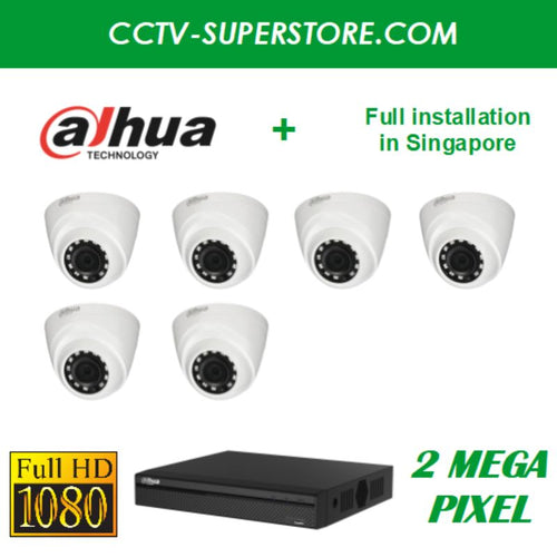 Dahua 6 x 2MP HD CCTV camera package with Installation in Singapore