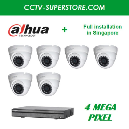 Dahua 6 x 4MP HD CCTV camera package with Installation in Singapore