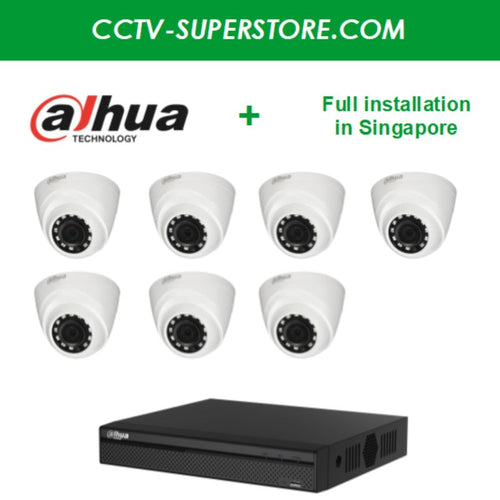 Dahua 7 x 1MP HD CCTV camera package with Installation in Singapore