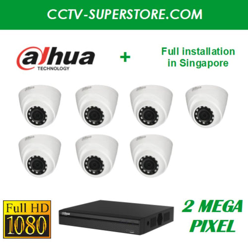 Dahua 7 x 2MP HD CCTV camera package with Installation in Singapore