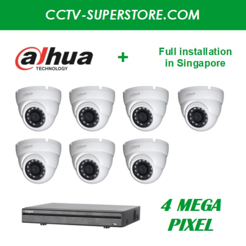 Dahua 7 x 4MP HD CCTV camera package with Installation in Singapore