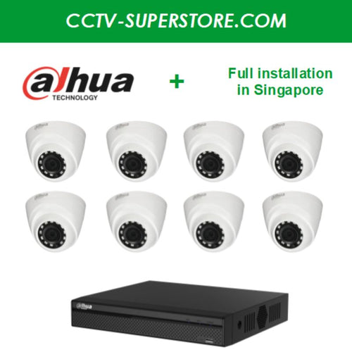 Dahua 8 x 1MP HD CCTV camera package with Installation in Singapore