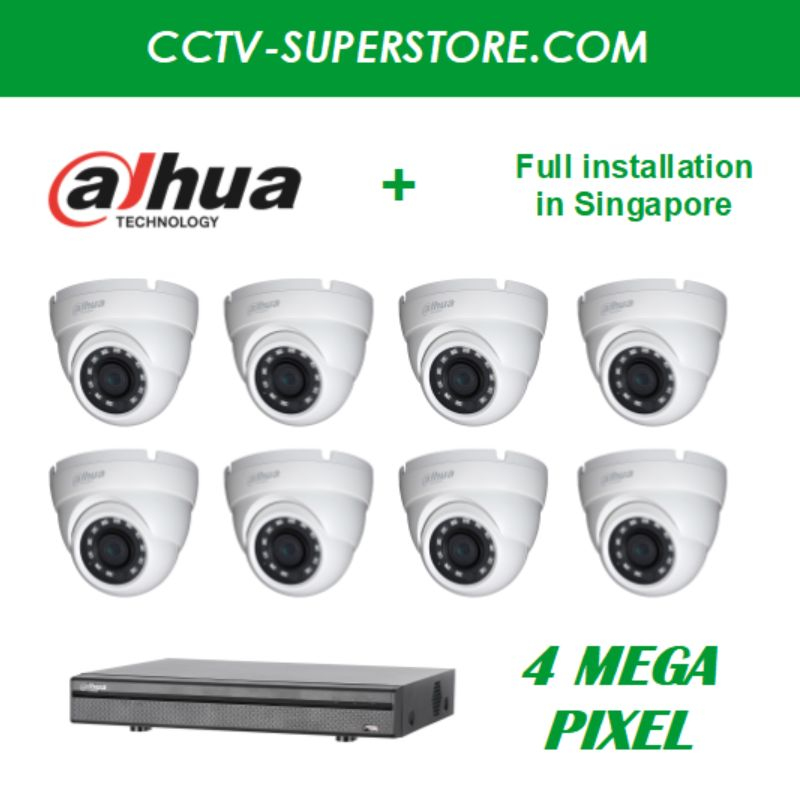 Dahua 8 x 4MP HD CCTV camera package with Installation in Singapore