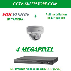 Hikvision 1 x 4MP HD CCTV IP Camera Package with Installation in Singapore, Setup for Remote Viewing
