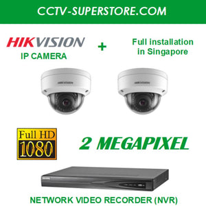 Hikvision 2 x 2MP Full HD IP Camera Package with Installation in Singapore, Setup for Remote Viewing
