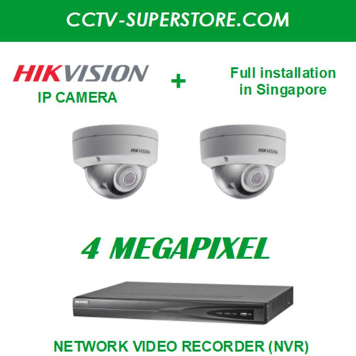 Hikvision 2 x 4MP HD CCTV IP Camera Package with Installation in Singapore, Setup for Remote Viewing