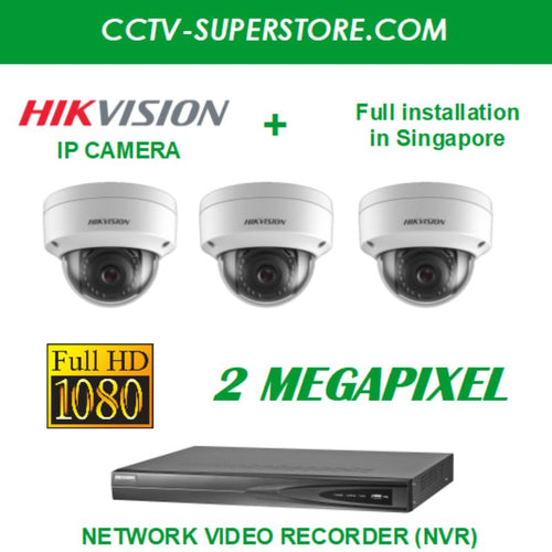 Hikvision 3 x 2MP Full HD IP Camera Package with Installation in Singapore, Setup for Remote Viewing